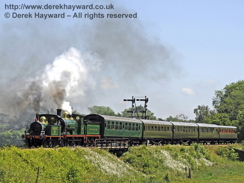 178 and 592 steam over Poleay Bridge with a service train.  21.05.2011  1596