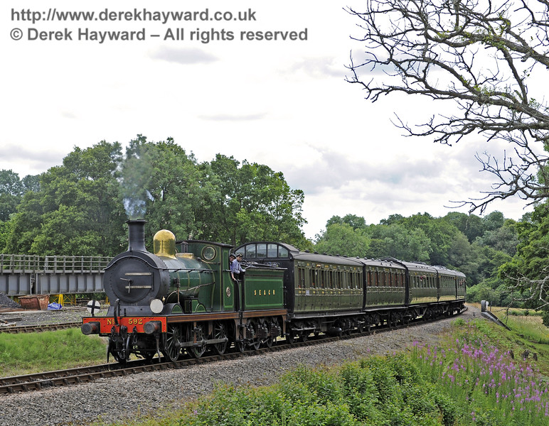 592 approaches Horsted Keynes with a service train.  06.07.2014  9798