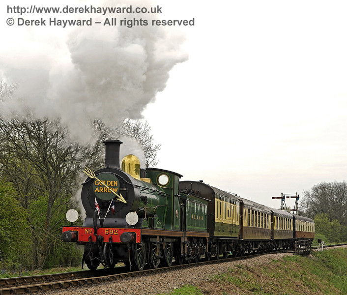 592 leaves Sheffield Park with the Golden Arrow.  14.04.2011  0741