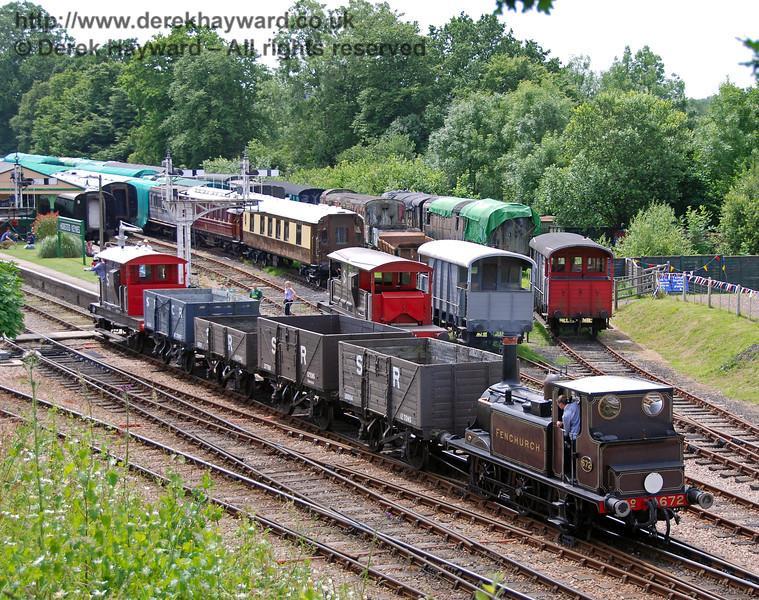 672 Fenchurch shunts a goods train at Horsted Keynes.  22.06.2008  0064