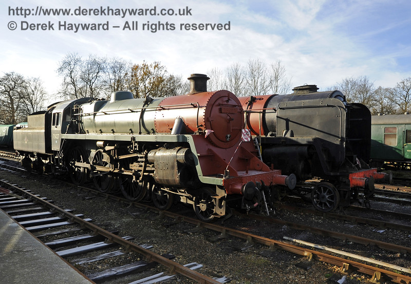 75027 and 92240 being repainted at Horsted Keynes.  10.12.2011  3197