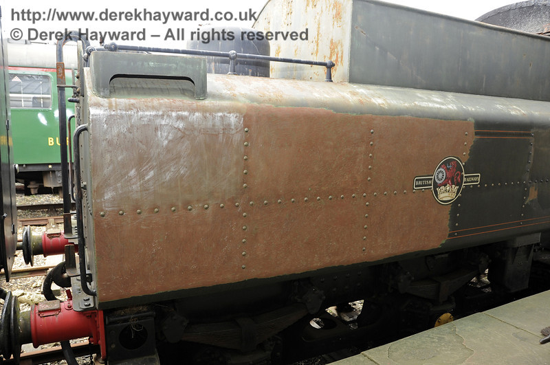 The rear end of the tender of 75027, which was still being rubbed down.  Horsted Keynes. 20.03.2012   3861