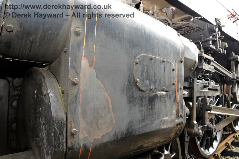 The nearside cylinder on 75027 is also being prepared for undercoat.  Horsted Keynes. 20.03.2012   3855