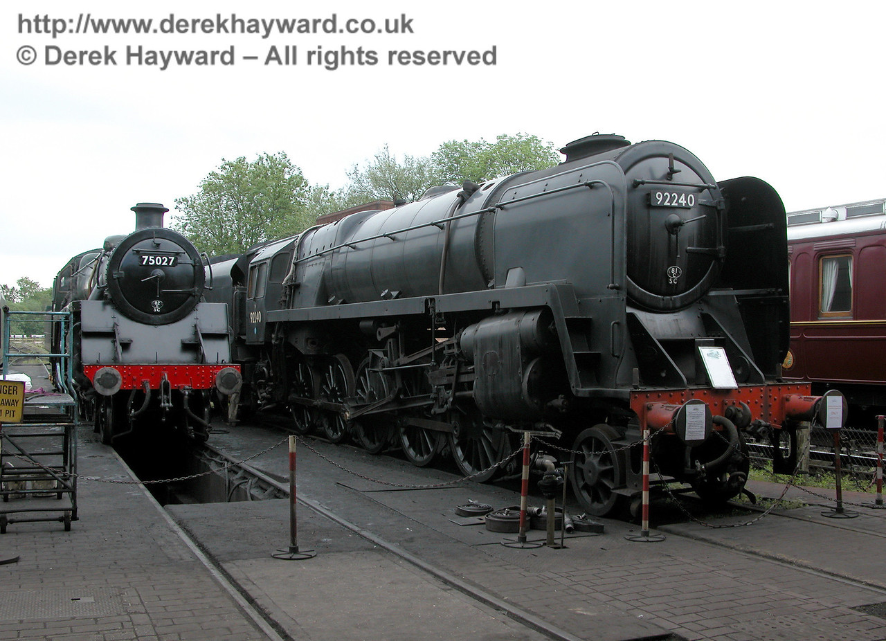 75027 and 92240 on shed at Sheffield Park.  04.06.2006