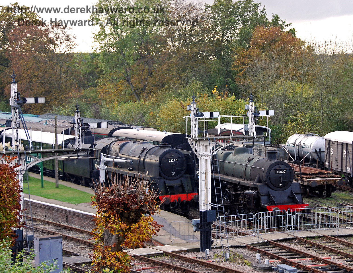 75027 and 92240 on display at Horsted Keynes before work started to repaint both engines. 23.10.2009