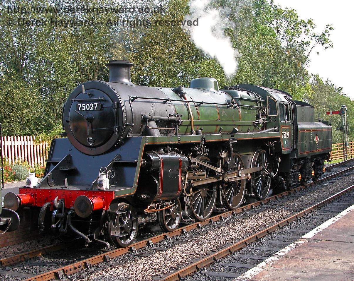 BR Standard 4MT 75027 takes a break at Kingscote. 04.09.2005