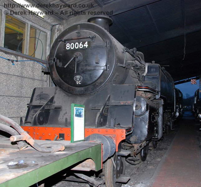 A shot of BR Standard Class 4 Tank 80064, taken inside Sheffield Park Shed on 01.01.2007 when space limitations prevented a better view.