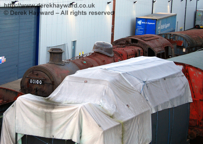 A glimpse of BR Standard Class 4 Tank 80100, described as being in ex-Barry Scrapyard condition. 14.01.2007