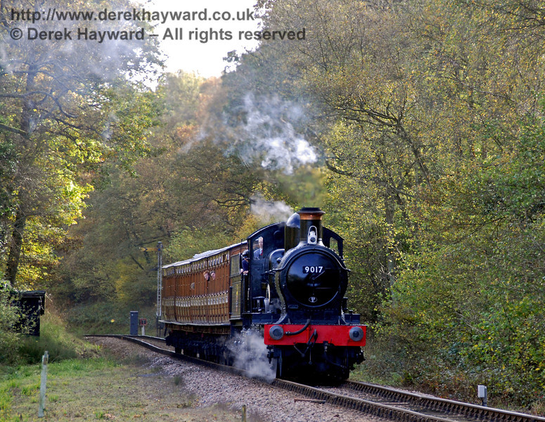 9017 Earl of Berkeley steams north past Black Hut. 25.10.2009  0076