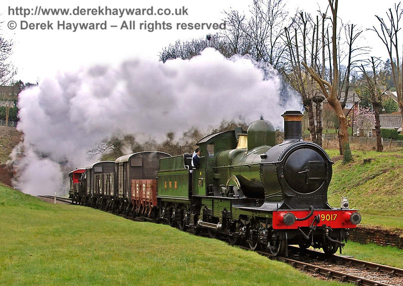9017 Earl of Berkeley hauls the first Sunday goods train north through the site of West Hoathly station. 30.03.2008