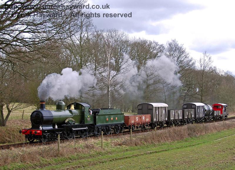 9017 Earl of Berkeley hauls the Sunday goods train north from Monteswood Lane Bridge. 30.03.2008