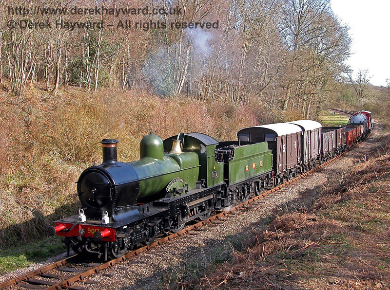 9017 Earl of Berkeley runs through Lindfield Wood with a goods train. 08.04.2006