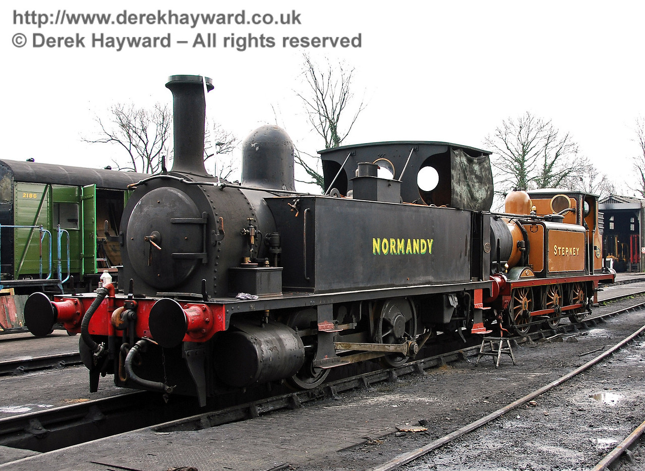 Normandy (with Stepney behind) had been moved over a pit at Sheffield Park Shed. 25.03.2007