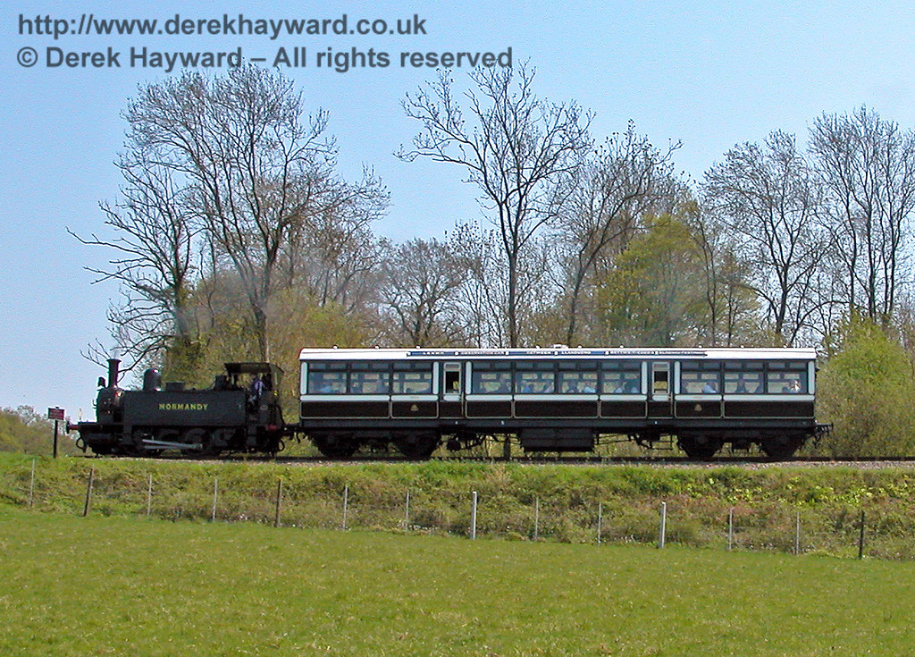 A low resolution shot of LSWR Adams Dock Tank 96 Normandy on a Bluebell Special south of Horsted Keynes shortly before being taken out of service. 04.05.2006