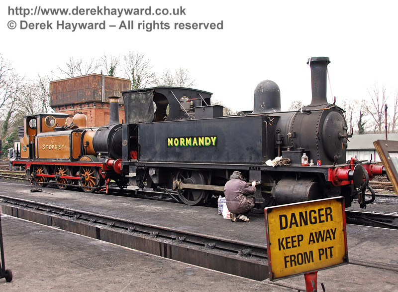 A shot of Normandy (and Stepney) from the other side revealed a gentleman undertaking some cosmetic care and attention. Sheffield Park Shed 25.03.2007