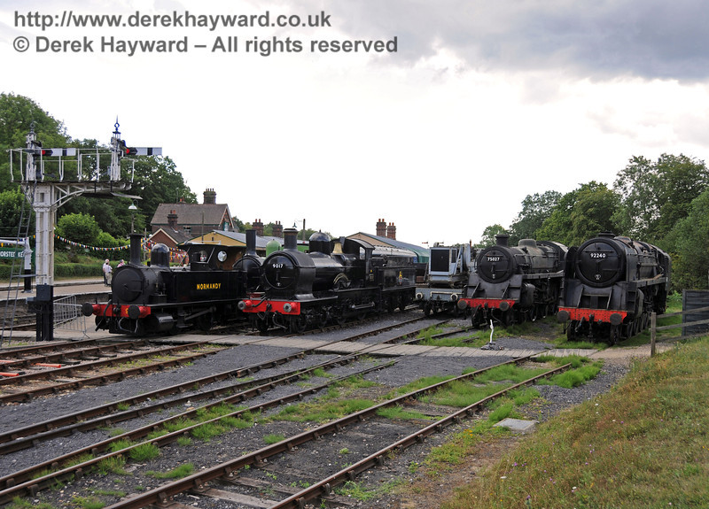 96 Normandy on display at Horsted Keynes during the 50th Anniversary celebrations with 9017, 75027 and 92240.  24.07.2010  3245