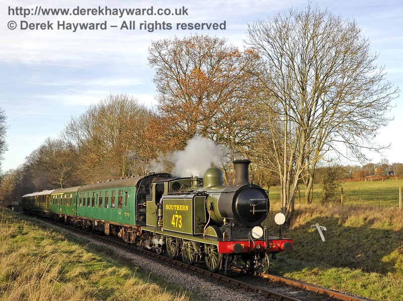 B473 steams south from Ketches Halt with a service train.  10.12.2011  3261