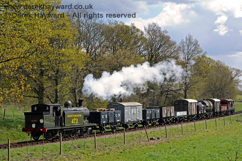 B473 north of Sloop Bridge with a goods train. 30.04.2016 12898