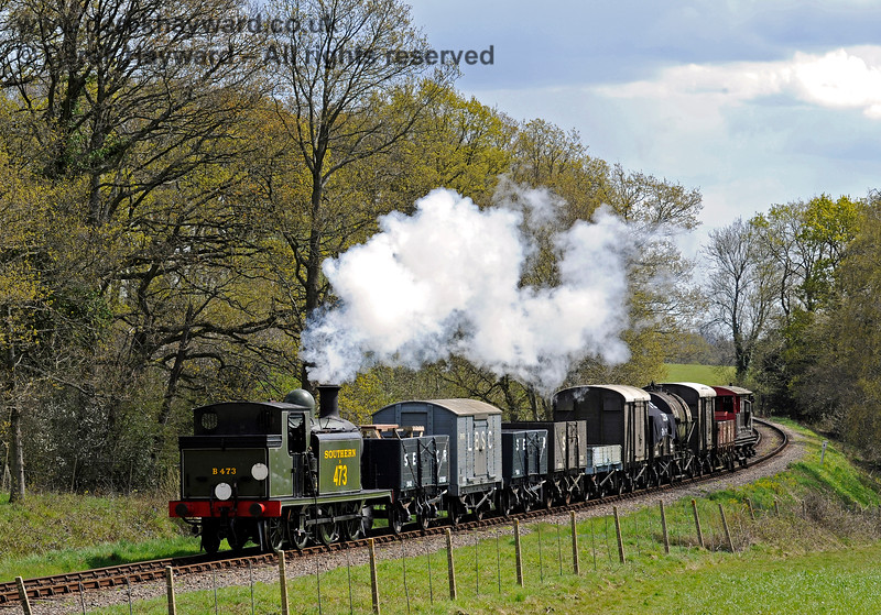 B473 north of Sloop Bridge with a goods train. 30.04.2016 12893