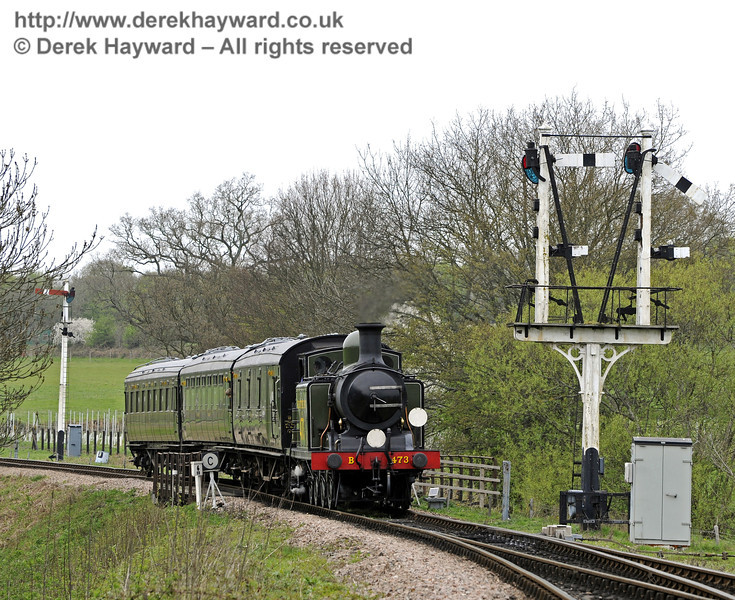 B473 amongst the signals outside Sheffield Park.  14.04.2011 0762