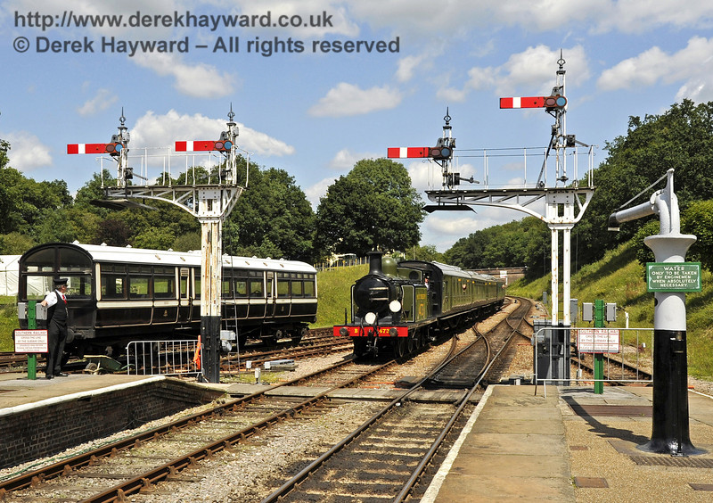 B473 amongst the signals at the north end of Horsted Keynes Station.  24.07.2011  2279