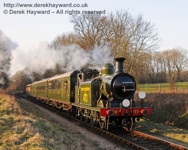B473 steams south from Ketches Halt with a service train.  06.02.2010  0355