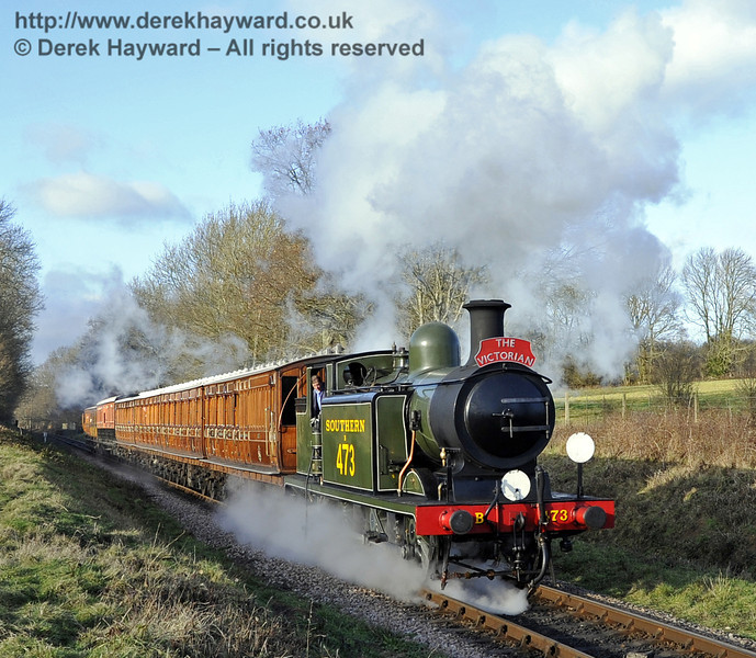B473 steams south from Ketches Halt with a Victorian Christmas train.  22.12.2011  3355