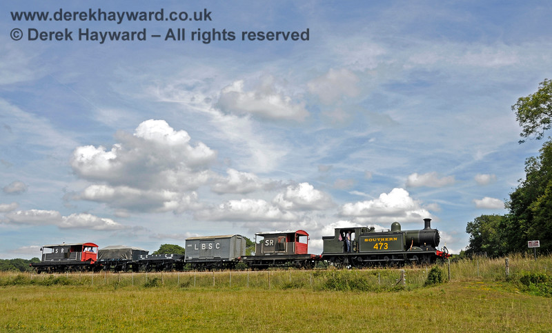 B473 steams south from New Road Bridge with a goods train. 01.08.2015 13380