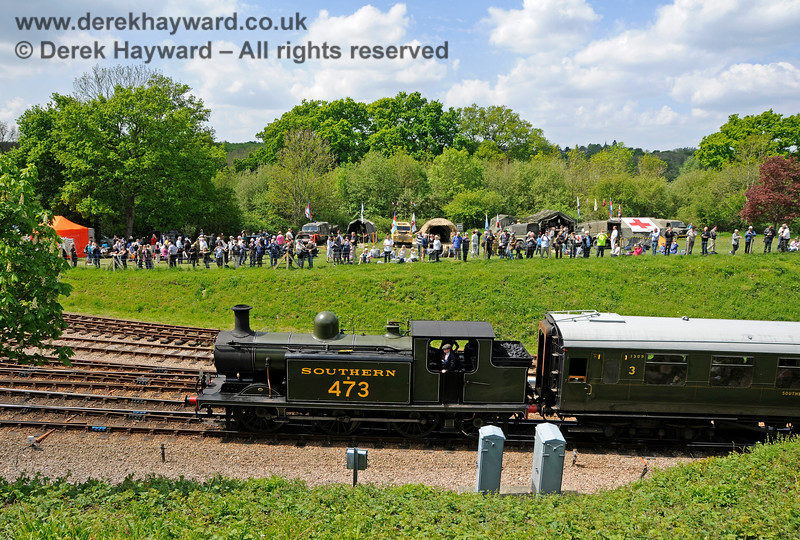 B473 arriving at Horsted Keynes during a Southern at War event. 15.05.2016 15246