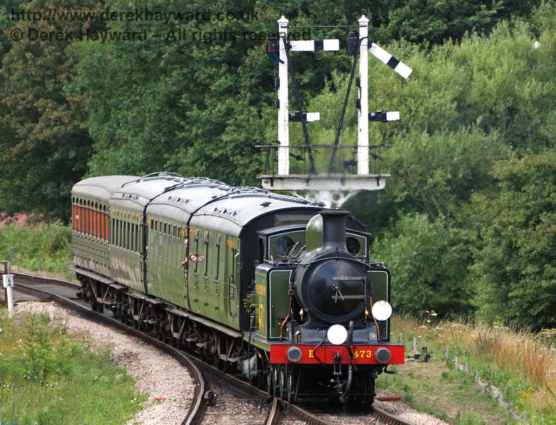 B473 passes the Inner Home bracket signal as it enters Sheffield Park.  28.07.2010  0020
