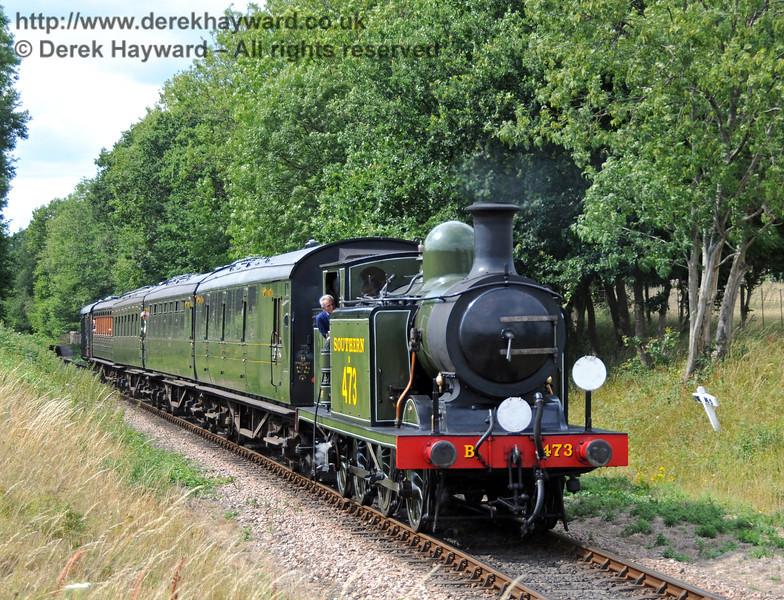 B473 hauls a service train south from Ketches Halt.  25.07.2010  3409