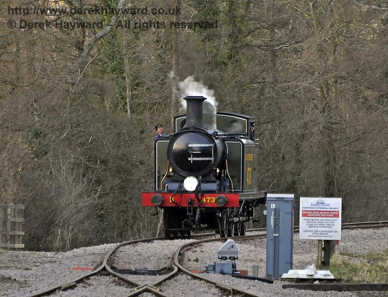 B473 runs round at the north end of Kingscote.  17.02.2013  8532