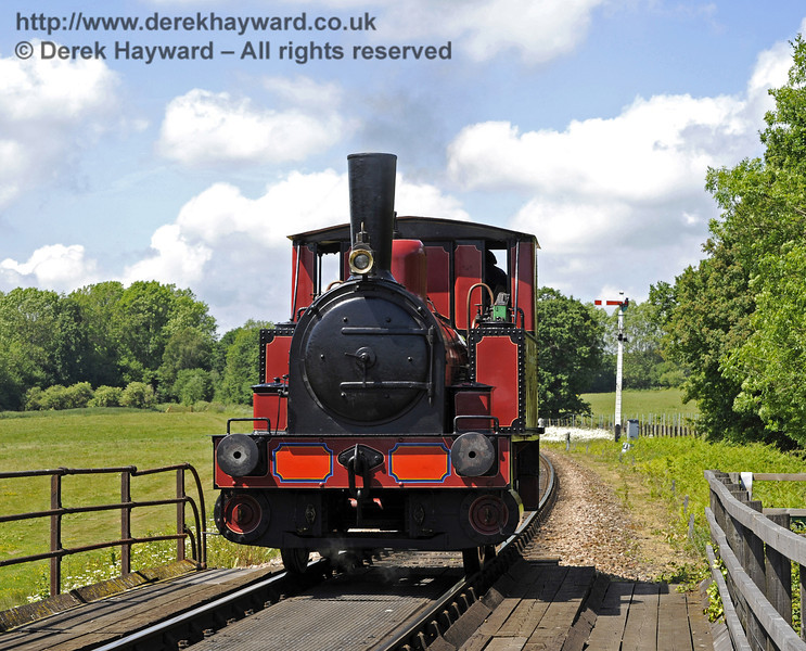 No. 3 Captain Baxter crosses Poleay Bridge whilst running light engine.  21.05.2011  1607