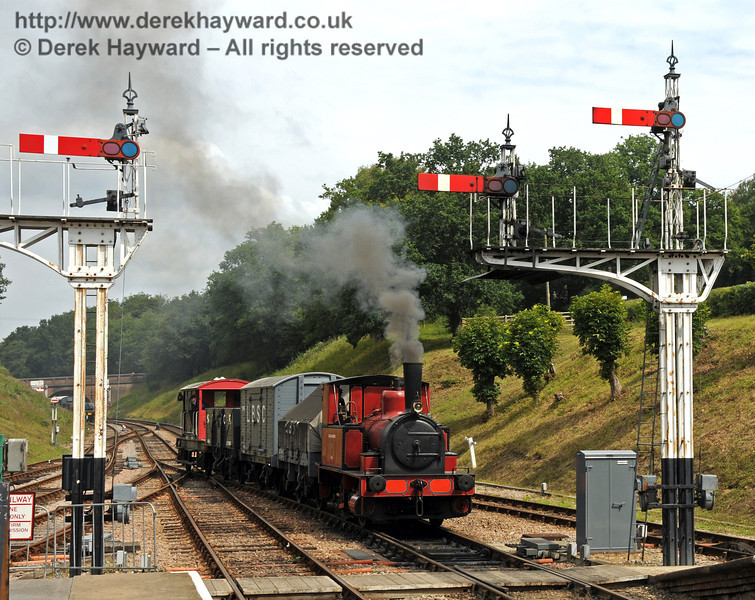 No. 3 Captain Baxter arrives at Kingscote with a goods train.  15.08.2010  3947