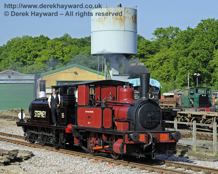 No. 3 Captain Baxter and 55 Stepney leaving Horsted Keynes.  18.05.2014  9487