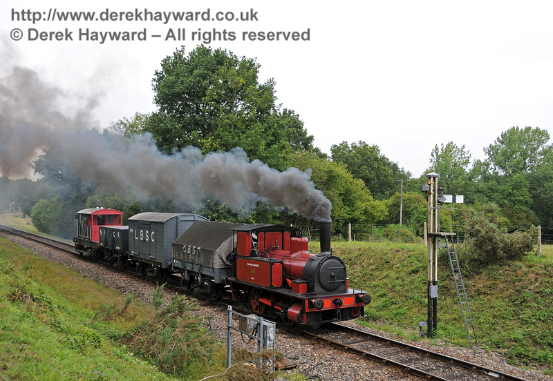No. 3 Captain Baxter passes the Kingscote Advance Starter with a goods train.  15.08.2010  3913