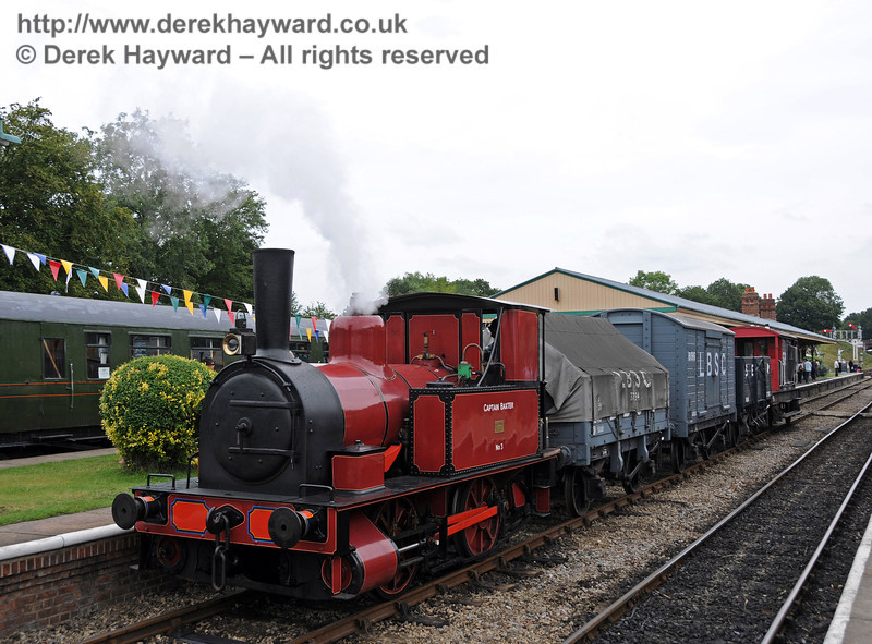 No. 3 Captain Baxter at Horsted Keynes with a goods train.  15.08.2010  3932