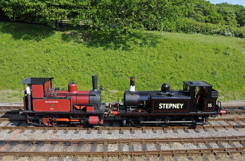 No. 3 Captain Baxter and 55 Stepney at Horsted Keynes.  18.05.2014  10628