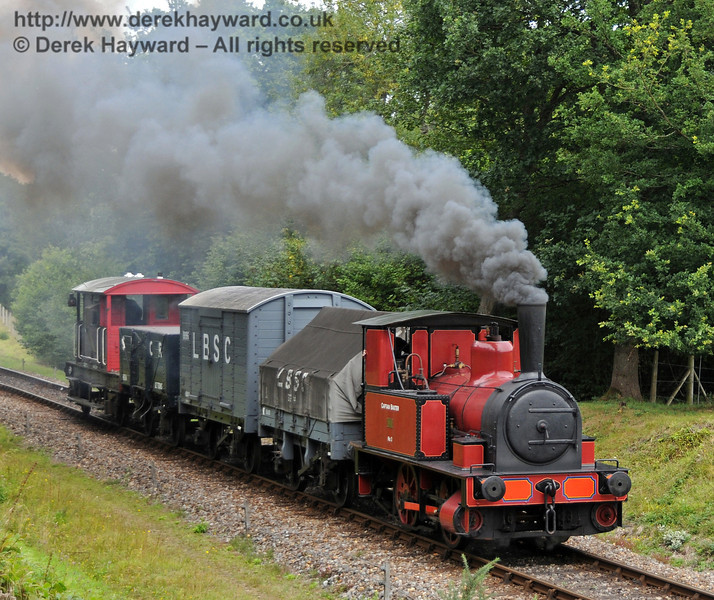No. 3 Captain Baxter leaves Kingscote with a goods train.  15.08.2010  3910