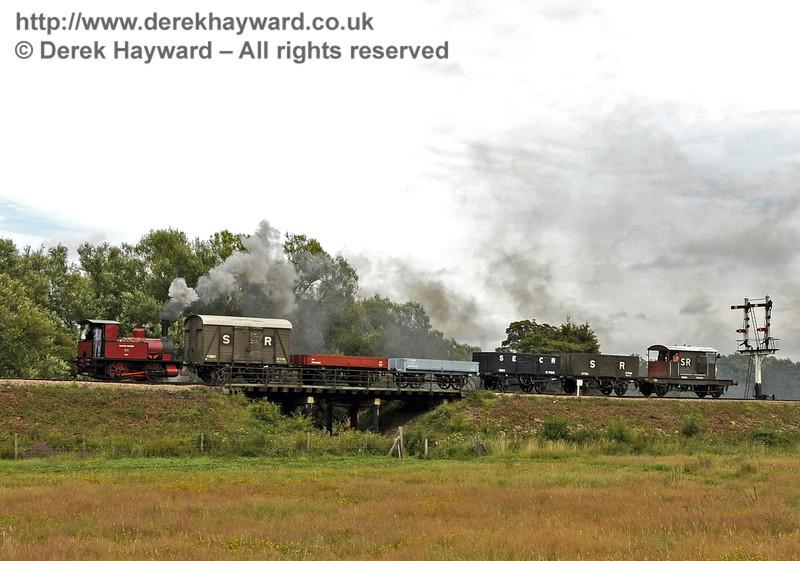No. 3 Captain Baxter steams north across Poleay Bridge with a goods train.  13.08.2011  2540