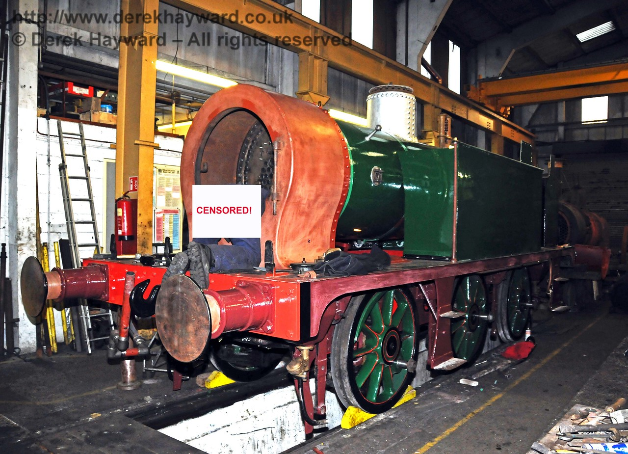 In the interests of the dignity of the gentleman working in the smokebox I have removed a small part of this picture, but the nearside of the locomotive can be seen. Sheffield Park Workshops 06.02.2010