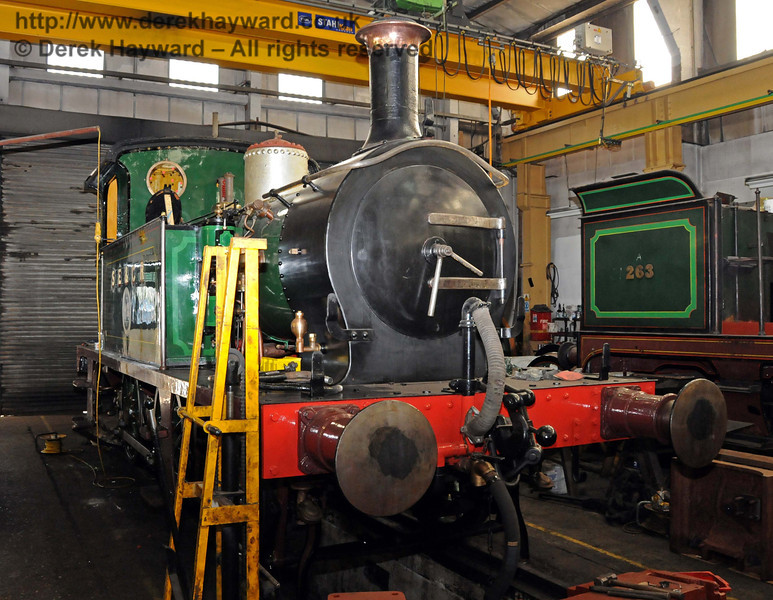178 in the process of having it's new livery applied.  Note that the dome casing (originally from 27) has been removed for polishing after appearing in the wrong shade of green (as was the case for the original version of Pioneer II). Sheffield Park Workshops 11.04.2010  1845