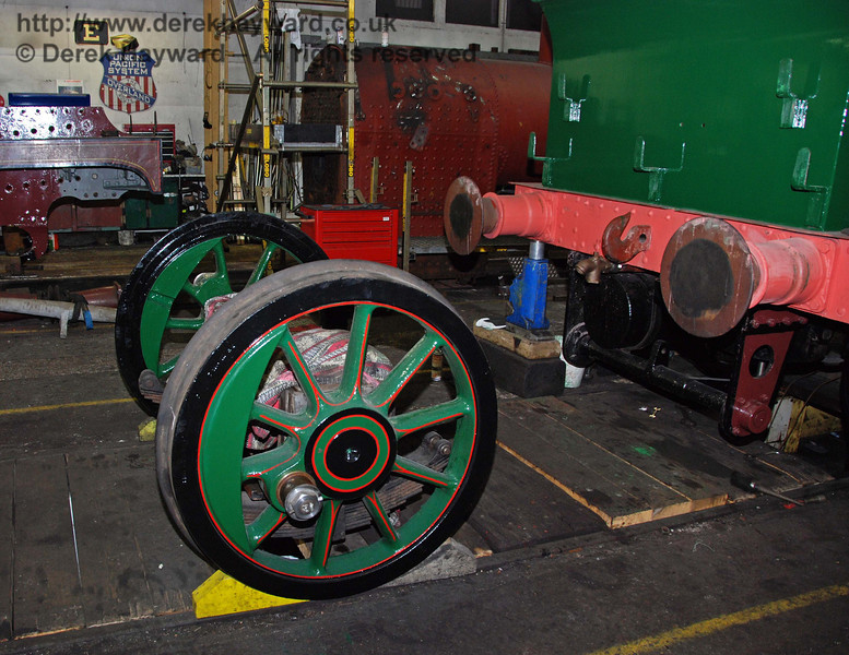 The remaining set of wheels (yet to be fitted) is behind the frames. Sheffield Park Workshops 13.12.2009