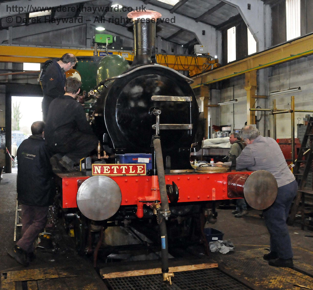 The Workshops team trying hard to get 178 Nettle operational. Sheffield Park 20.02.2010  638