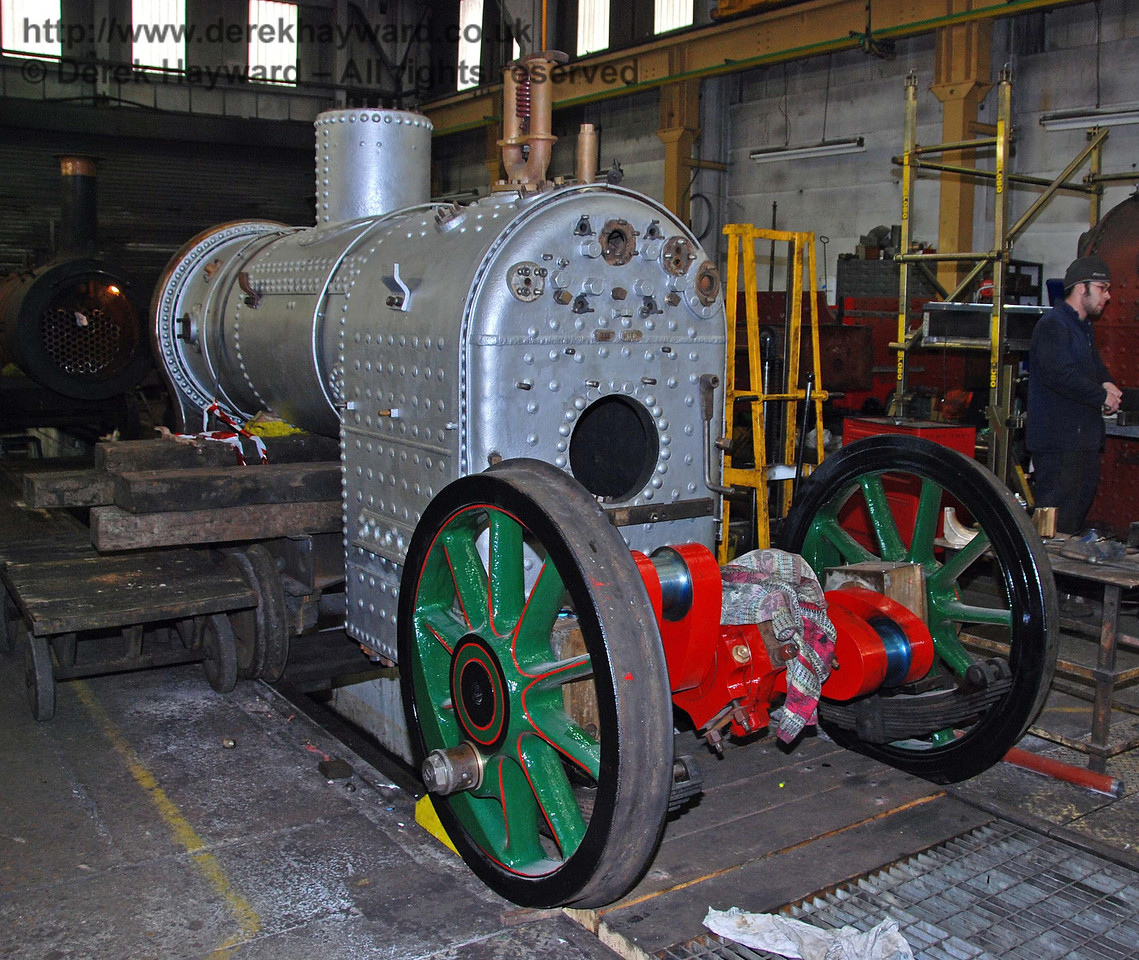 The boiler and driving wheels from 178 awaiting installation. Sheffield Park Workshops 24.01.2010