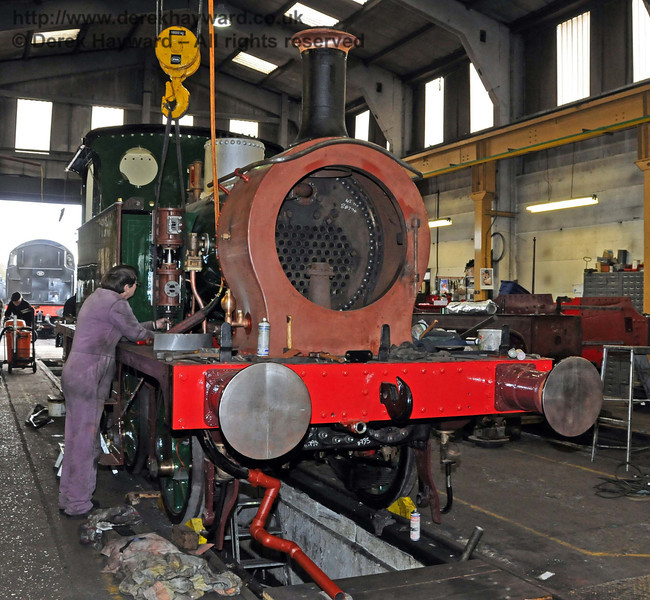 The front offside of 178, with the chimney now in position. Sheffield Park Workshops 13.02.2010  478