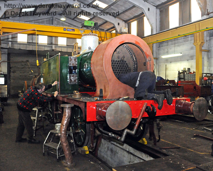 The boiler and smokebox from 178 are now in the frames. (Work does not stop, even for photography!) Sheffield Park Workshops 06.02.2010  356