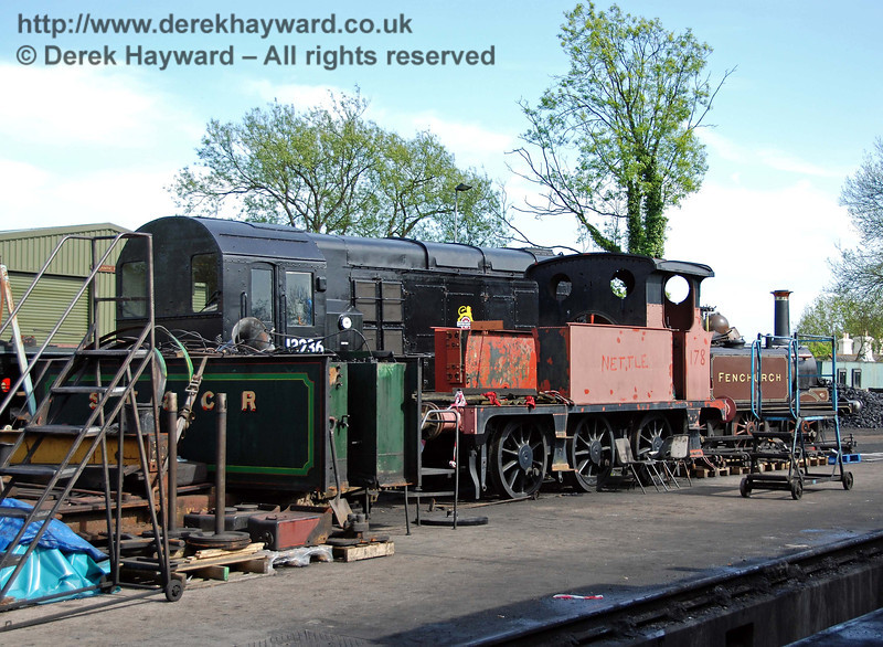 A rare glimpse of the dismantled P class, 178, with the name Nettle on the side. Sheffield Park Shed 09.05.2009