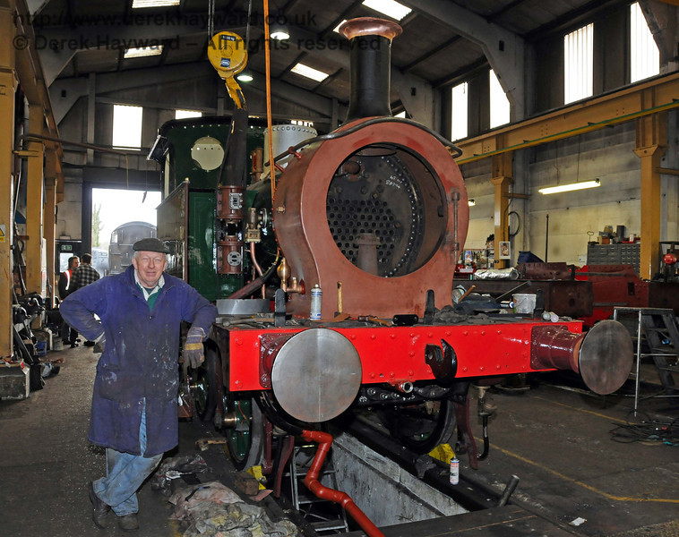 A member of the team poses with 178. Sheffield Park Workshops 13.02.2010