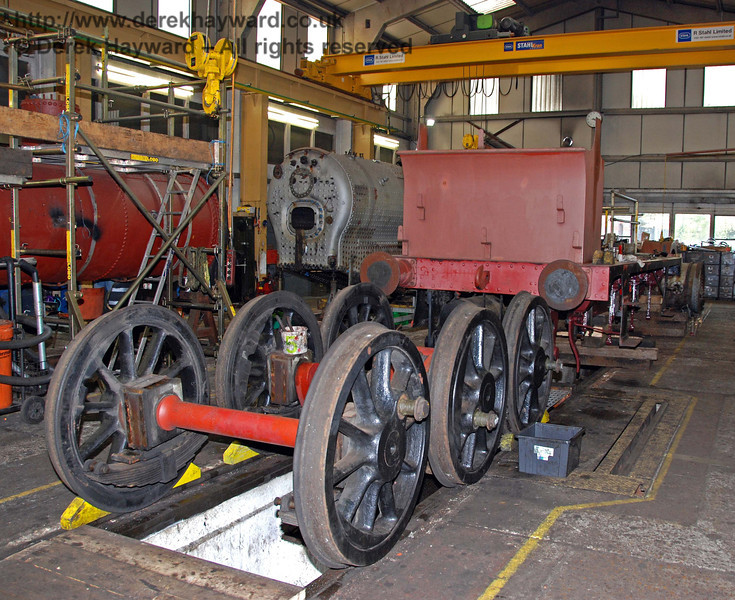 The wheels from 178 are seen behind the frames having been removed. Sheffield Park Workshops 23.10.2009.